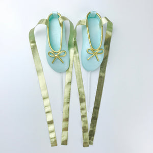 Teal and Gold Ballerina Shoes Fondant Cake Toppers