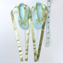 Teal and Gold Ballerina Shoes Fondant Cake Topper sizes