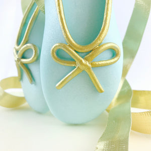 Teal and Gold Ballerina Shoes Fondant Cake Topper Closeup