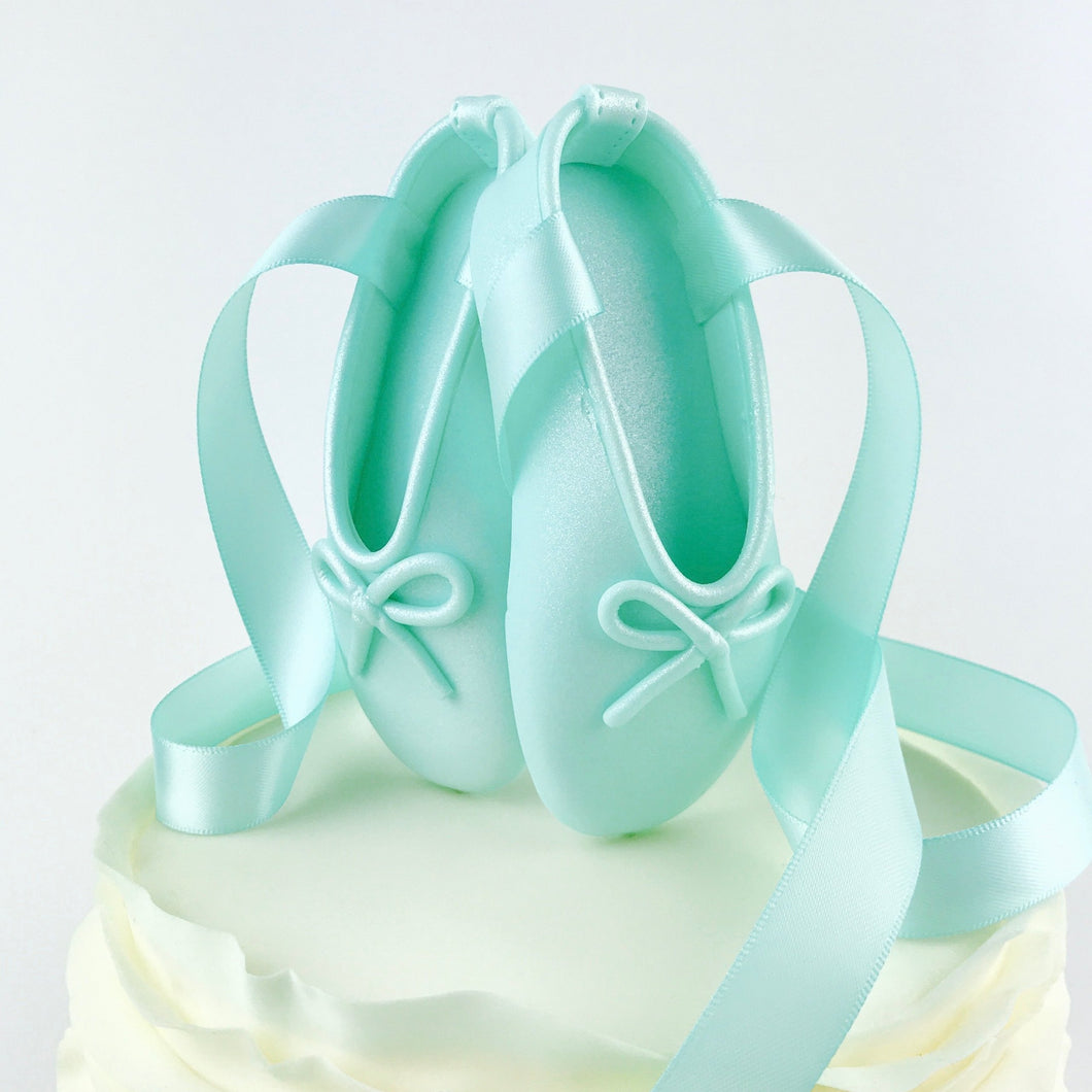 Teal Ballerina Shoes Fondant Cake Topper
