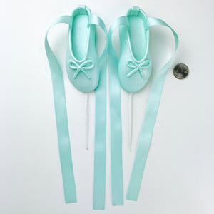 Teal Ballerina Shoes Fondant Cake Topper size comparison