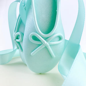 Teal Ballerina Shoes Fondant Cake Topper Closeup detail