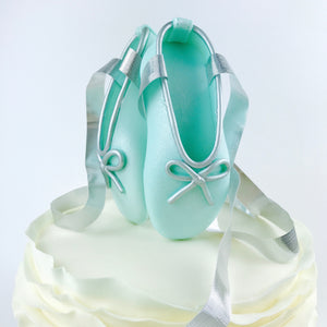 Teal and Silver Ballerina Shoes Fondant Cake Topper