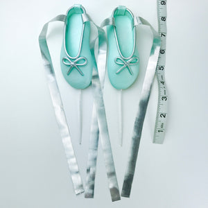Teal and Silver Ballerina Shoes Fondant Cake Topper sizes