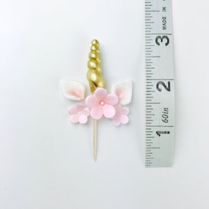 Gold Unicorn Cupcake Toppers set with Pink Flowers - Ships within 3 Business Days