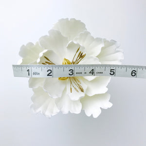Extra Large Open Peony Sugar Flower in White