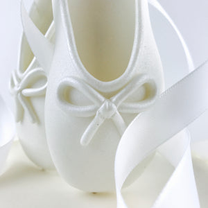 White Ballerina Shoes Fondant Cake Topper Closeup detail