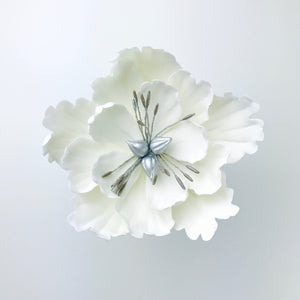 Extra Large Open Peony Sugar Flower in White - Ships within 3 Business Days