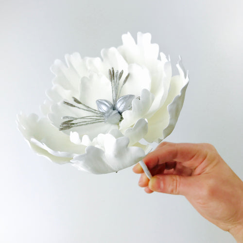 White Extra Large Open Peony Sugar Flower