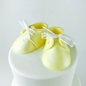 Baby Booties Fondant Cake Topper in Yellow - Ships within 3 Business Days
