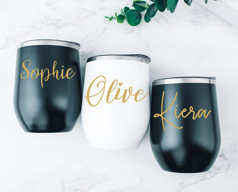 Bridesmaid Gift, Wedding Party Gift, Stemless Wine Cup, Bachelorette Party Favor, Bridesmaid Cups - urweddinggifts