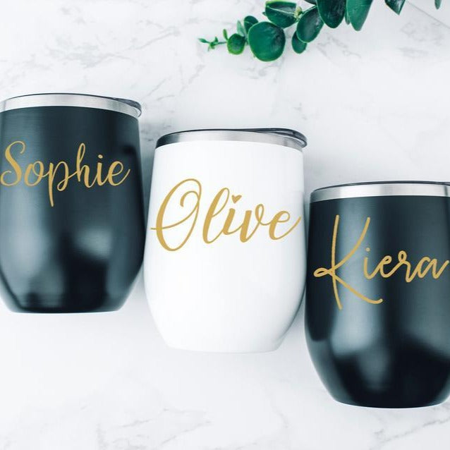 Wedding Party Gift, Stemless Wine Cup, Bachelorette Party Favor, Bridesmaid Cups, Employee Gift - urweddinggifts