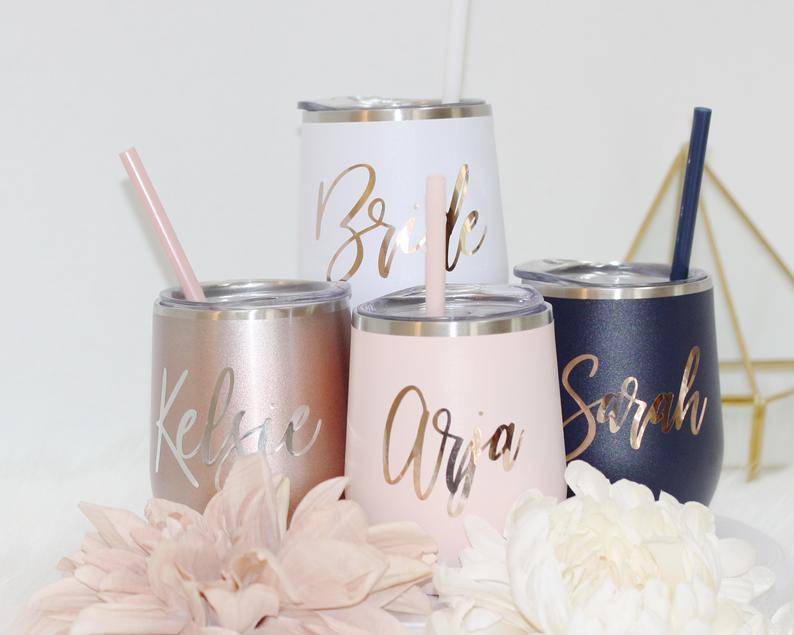 Set of 4 5 6 7 metal wine tumbler with lid and straw Bridal shower favors Personalized Bridesmaid Gifts - urweddinggifts