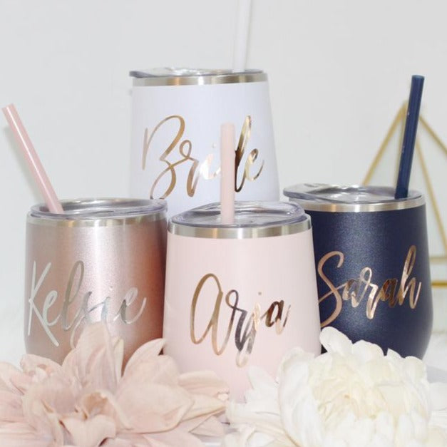 Wine tumbler / bridesmaid gift / bachelorette gift /12oz custom wine glass / personalized tumbler - urweddinggifts