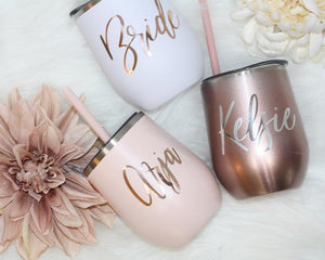 Bachelorette Tumblers, Bridesmaid Proposal Tumbler - Bridesmaid Gift - Bridesmaid Party Cup - Bridal Party Gifts - Stemless Wine Tumblers - urweddinggifts