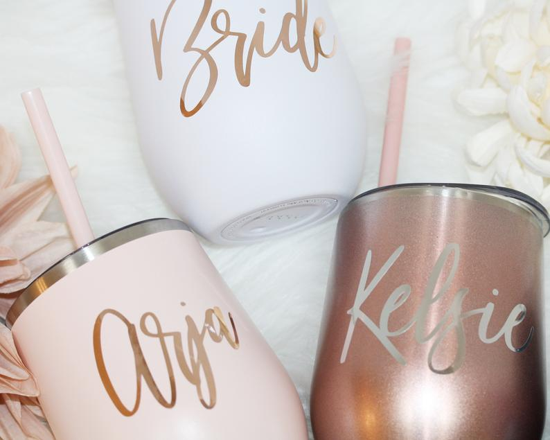 Bridesmaid Tumbler | Bridesmaid Gift | Custom Champagne Tumbler | Bridal Party Gift - urweddinggifts