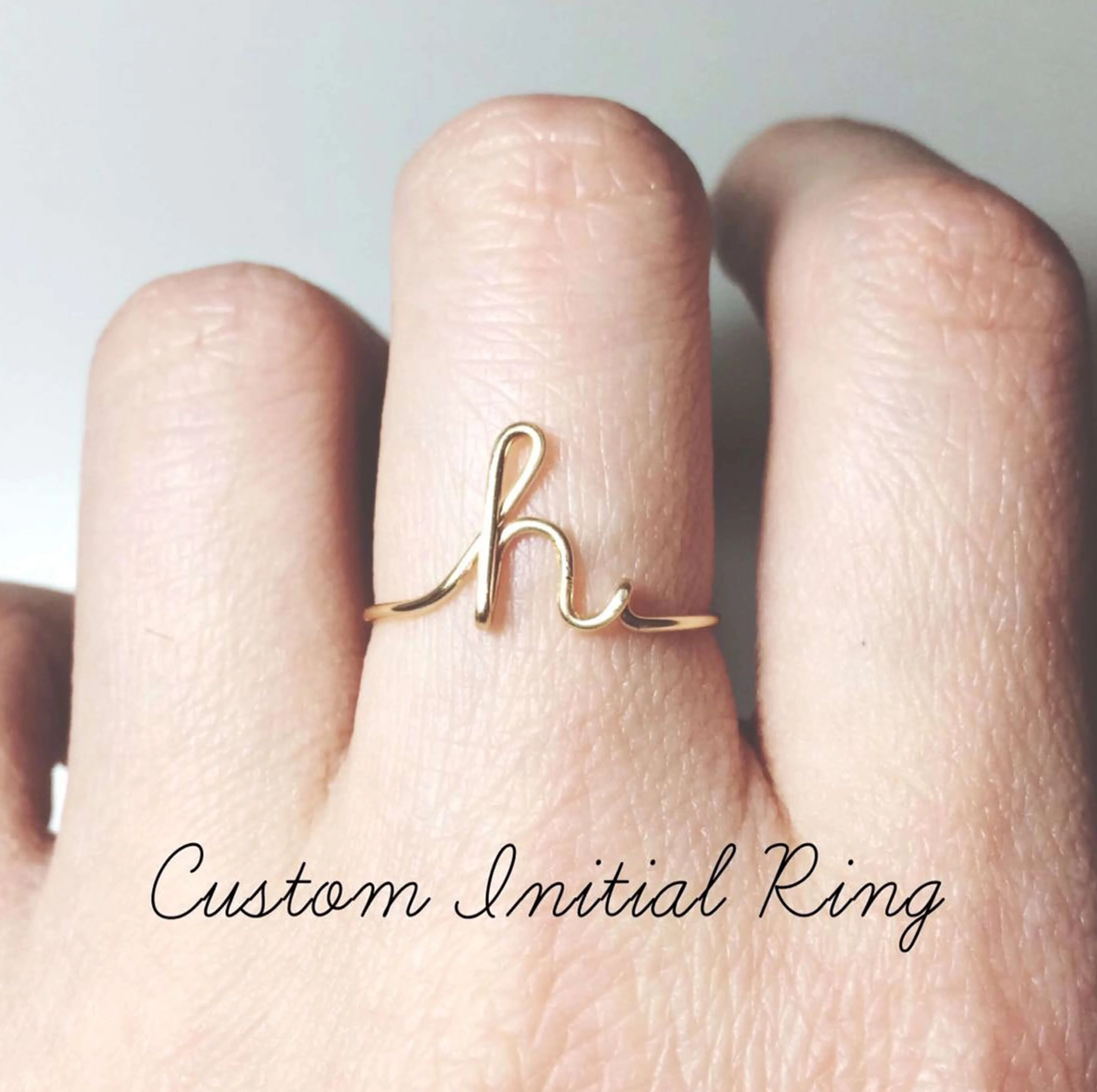 Bridesmaid Gift Custom Initial Ring Personalized Bridesmaid Gifts Wedding Gift Jewelry Letter Ring - urweddinggifts