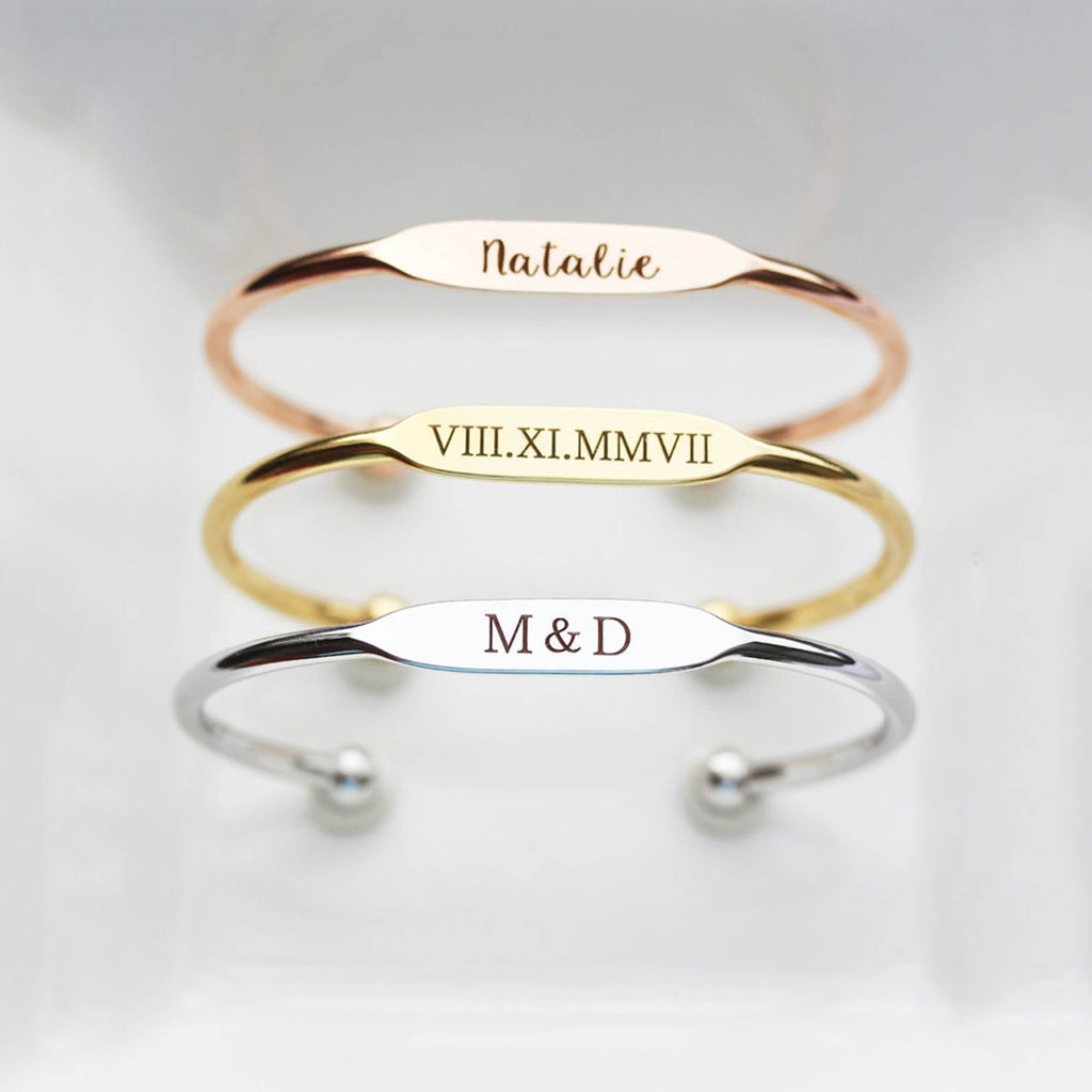 Bridesmaid Gift Engraved Bracelets Personalized Bridesmaid Bracelet Monogrammed Bangle Custom Name Bracelet - urweddinggifts