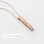 Bridesmaid Gift Handwriting Necklace Handwriting 4 Sided Bar Necklace Custom Handwriting Jewelry - urweddinggifts