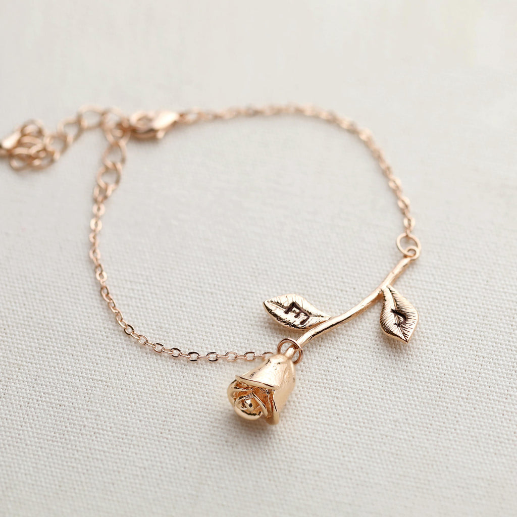 Bridesmaid Gift Personalized Bridesmaid Bracelet Engraved Rose Bracelet Custom Jewelry - urweddinggifts