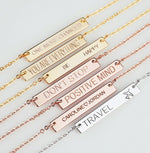 Bridesmaid Gift Personalized Necklace Custom Coordinate Necklace Engraved Bar Necklace Wedding Gift - urweddinggifts