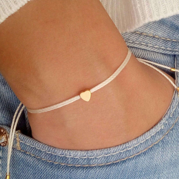 Bridesmaid Gift Tiny Heart Bracelet Bridesmaid Gift Bracelets Wish Bracelet Friendship Bracelets - urweddinggifts