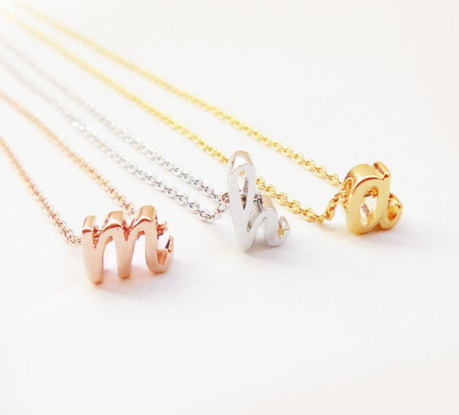 Bridesmaid Gift Tiny Initial Necklace Bridesmaid Letter Necklace Custom Bridesmaid Necklace - urweddinggifts