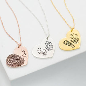 Bridesmaid Gifts Actual Fingerprint Necklace Engraved Handwriting Jewelry Custom Heart Charm Necklace - urweddinggifts