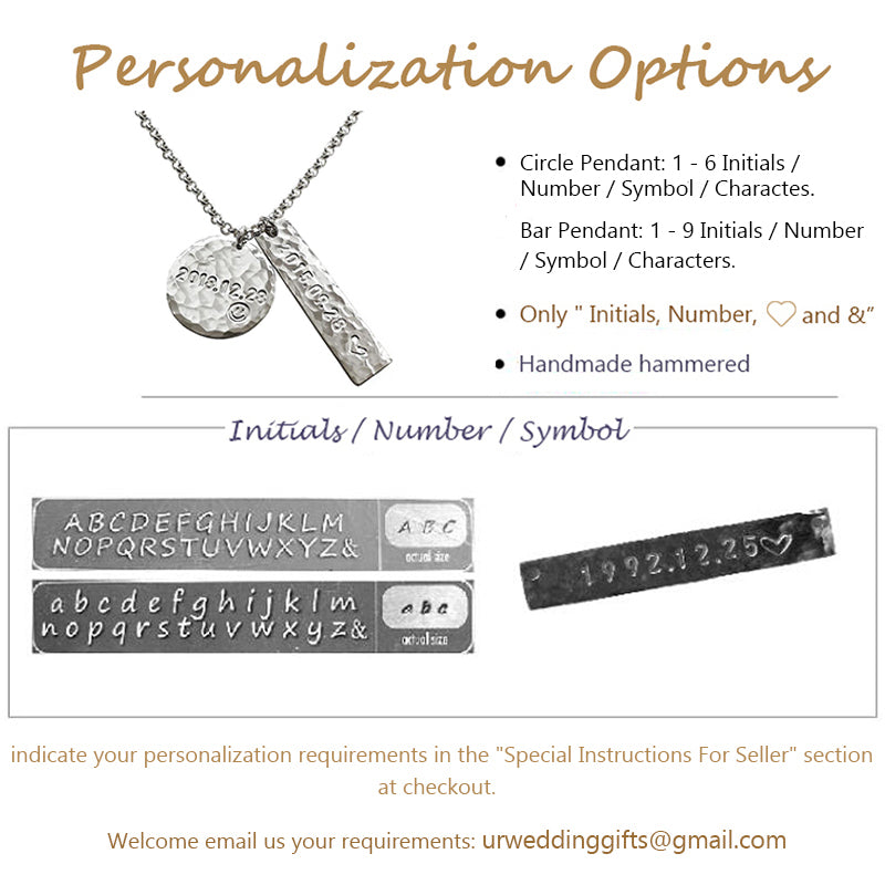 Bridesmaid Gifts Bar And Circle Necklace Customized Name Bar Necklace Engraved Disc Necklace - urweddinggifts