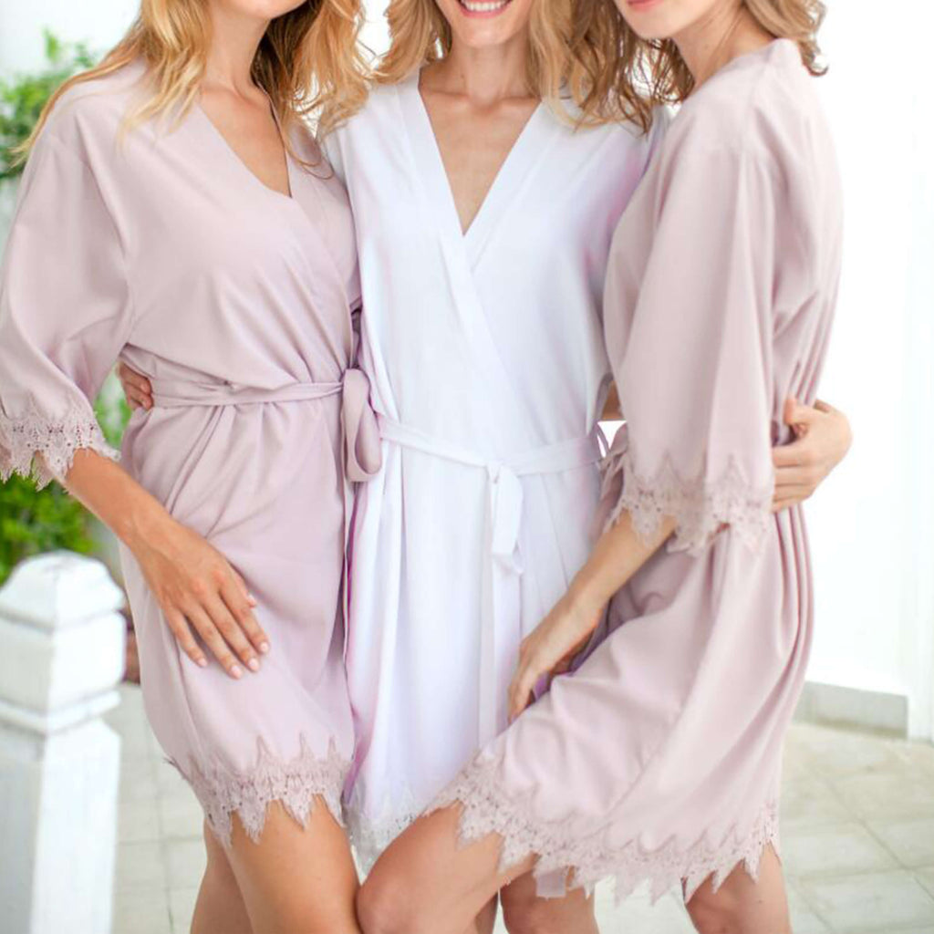 Bridesmaid Gifts Bride Robe Bridesmaid Robes Lace Robe Bridal Robe Bridal Party Robes - urweddinggifts