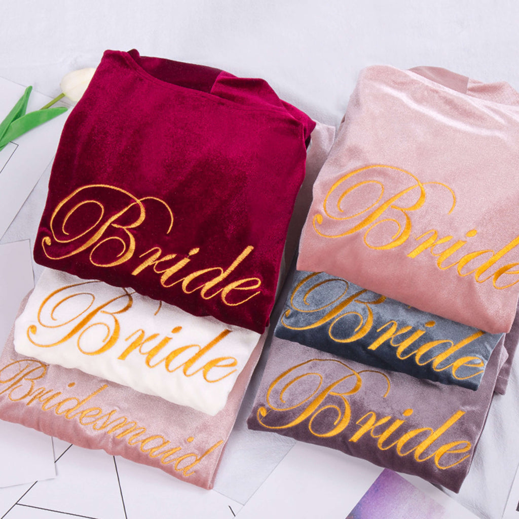 Bridesmaid Gifts Bridesmaid Robes Velvet Robe Embroidered Bridal Party Robes Bride Robe - urweddinggifts