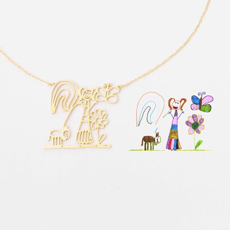 Bridesmaid Gifts Children's Drawing Necklace Kid Artwork Necklace Customized Child Art Jewelry Personalized Drawing Necklace - urweddinggifts
