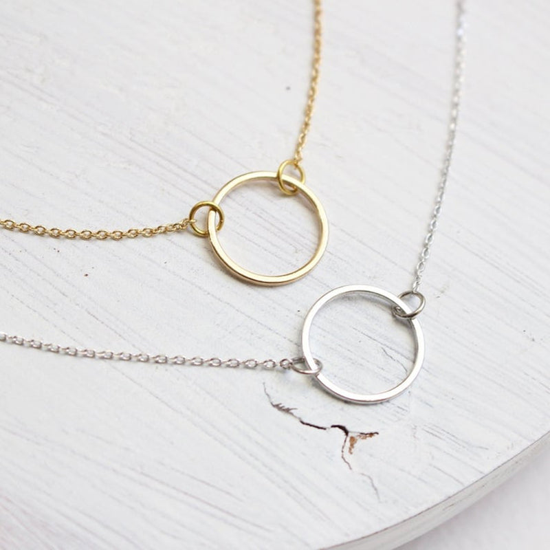 Bridesmaid Gifts Circle Necklace Delicate Dainty Necklace Ring Necklace - urweddinggifts