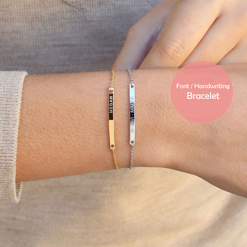 Bridesmaid Gifts Custom Coordinates Bracelet Handwriting Bracelet Name Bracelet Personalized Bar Bracelet - urweddinggifts