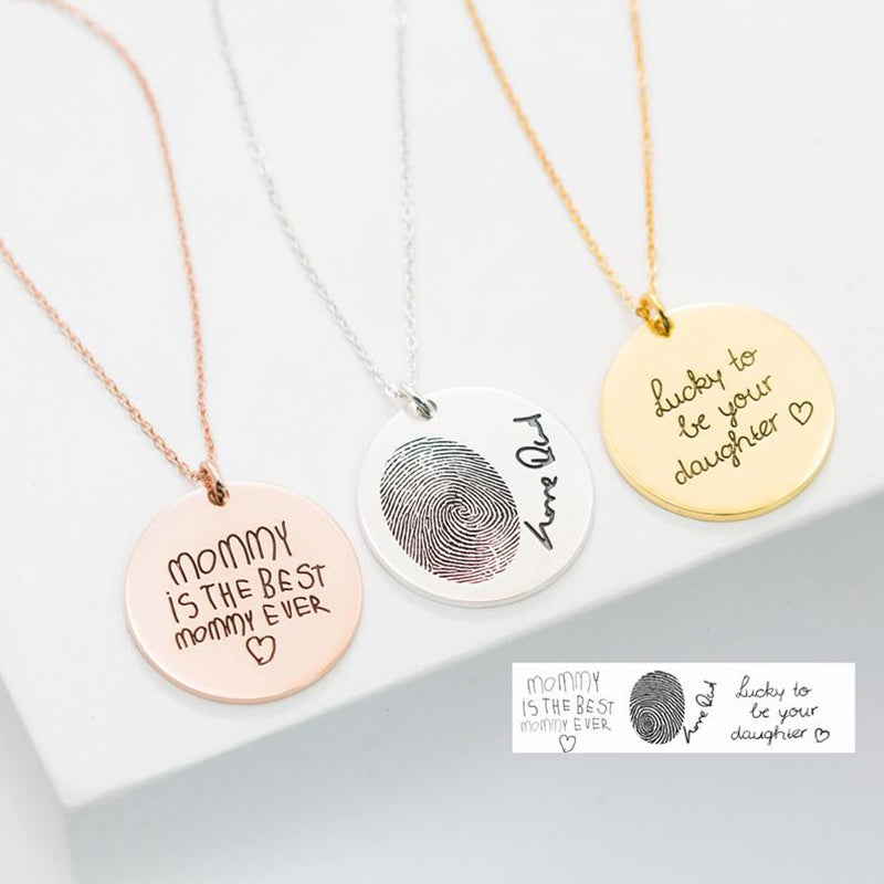 Bridesmaid Gifts Custom Handwriting Necklace Handwriting Circle Charm Necklace Personalized Handwriting Necklace - urweddinggifts