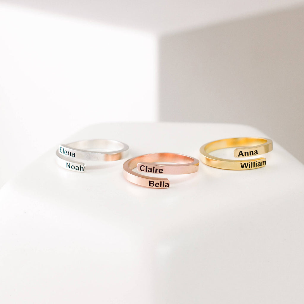Bridesmaid Gifts Custom Name Ring Engraved Words Ring Personalized Wedding Gifts - urweddinggifts