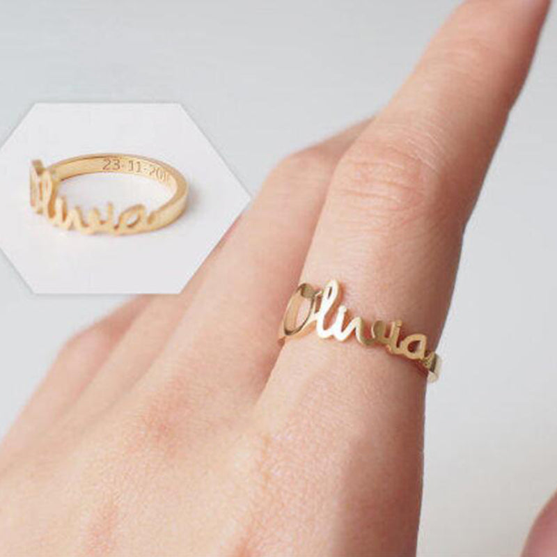 Bridesmaid Gifts Custom Name Ring Personalized Name Ring Engraved Words Ring - urweddinggifts