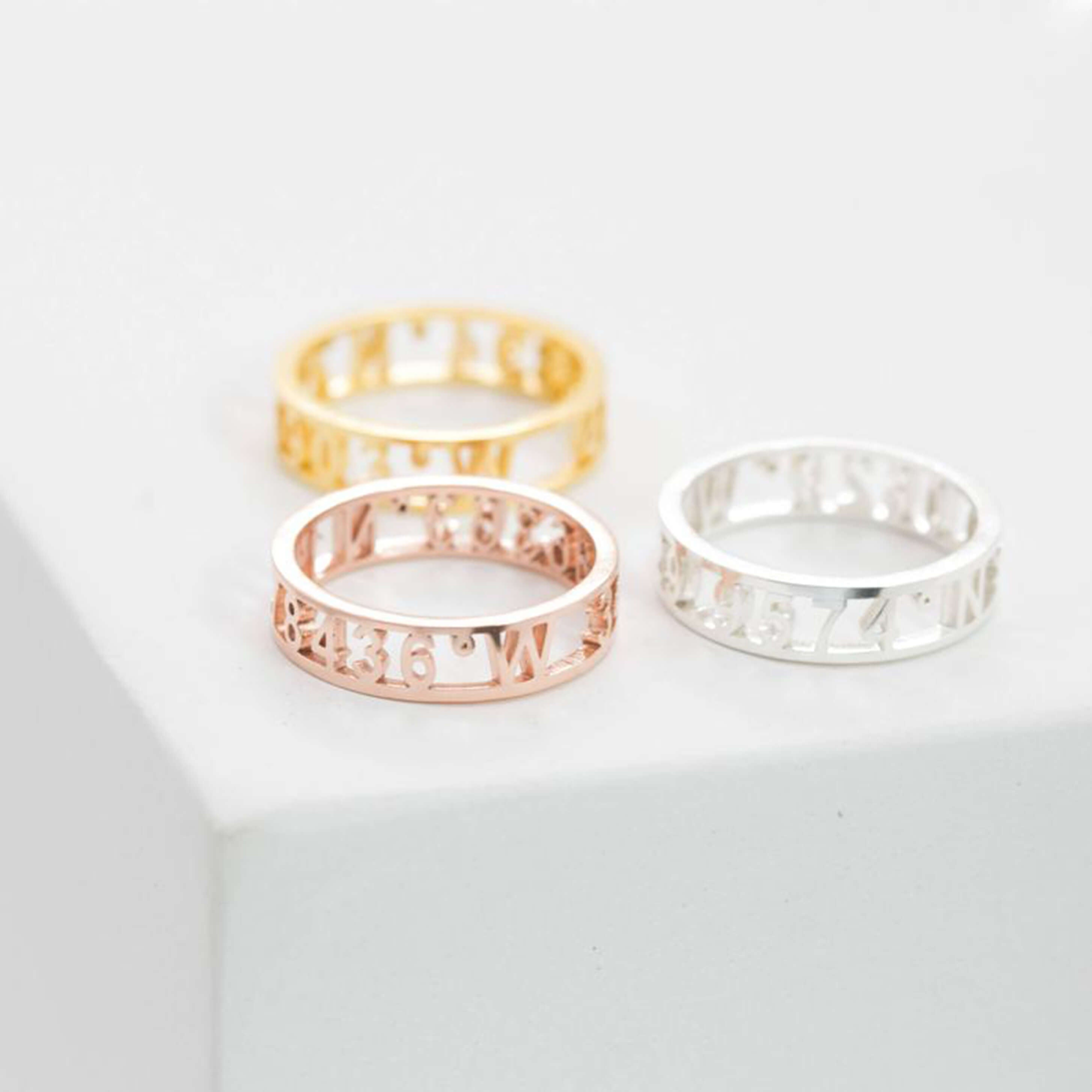 Bridesmaid Gifts Custom Roman Numerals Ring Date Ring Personalize Numeral Ring - urweddinggifts