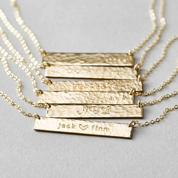 Bridesmaid Gifts Customized Bar Necklace Personalized Hammered Name Necklace Engraved Bar Necklace - urweddinggifts