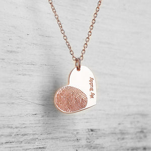 Bridesmaid Gifts Double Heart Necklace Actual Fingerprint Necklace Handwriting Necklaces - urweddinggifts