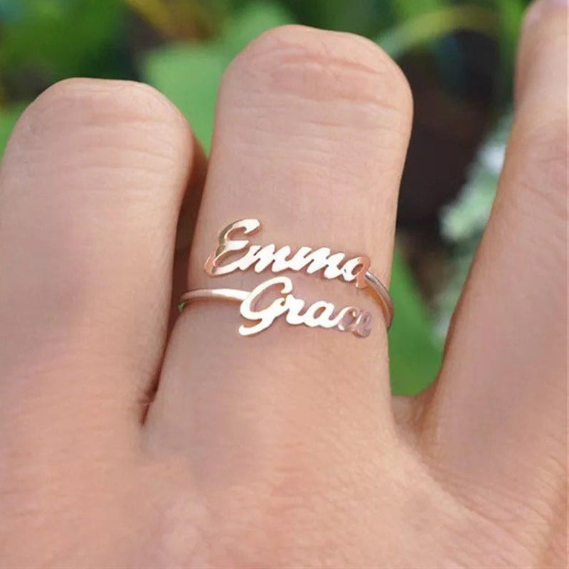 Bridesmaid Gifts Double Name Ring Actual Handwriting Ring Custom Two Name Ring - urweddinggifts