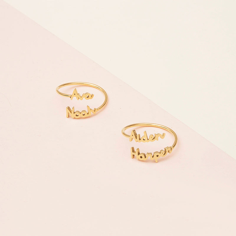 Bridesmaid Gifts Double Name Ring Custom Name Ring Personalized Words Ring - urweddinggifts