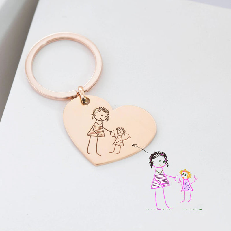 Bridesmaid Gifts Engraved Handwriting Keychain Custom Stamped Keepsake Jewelry Personalized Actual Handwriting Keychain - urweddinggifts
