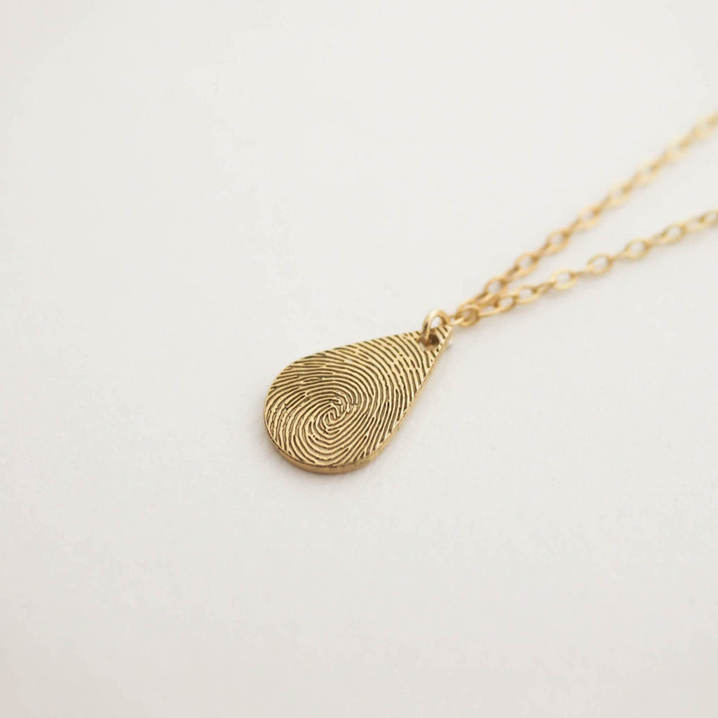 Bridesmaid Gifts Fingerprint Necklace Tiny Teardrop Fingerprint Pendant Fingerprints Jewelry - urweddinggifts