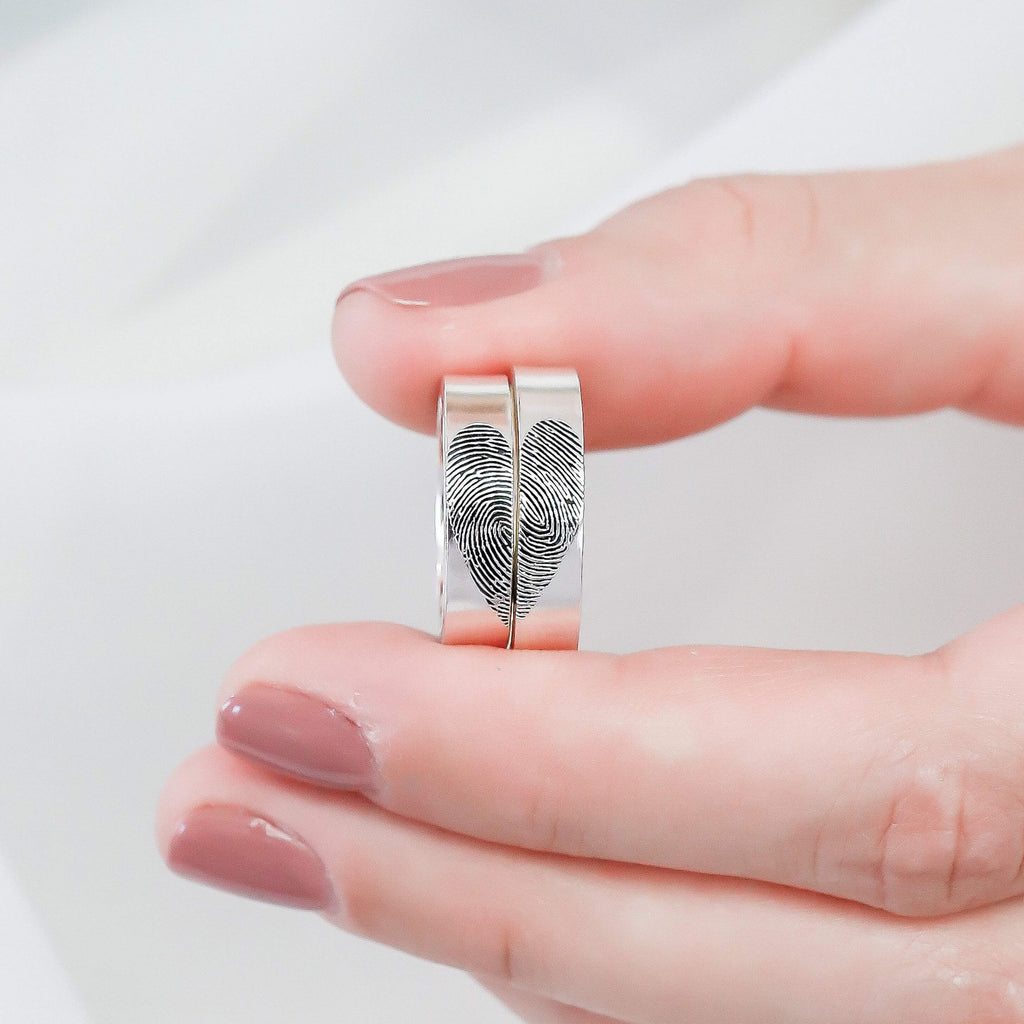 Bridesmaid Gifts Fingerprint Rings Actual Fingerprint Jewelry Couple Rings Memorial Jewelry - urweddinggifts