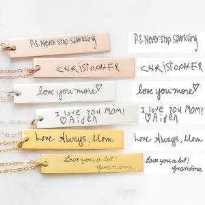 Bridesmaid Gifts Handwriting Bar Necklace Personalized Signature Necklace Custom Handwriting Jewelry - urweddinggifts