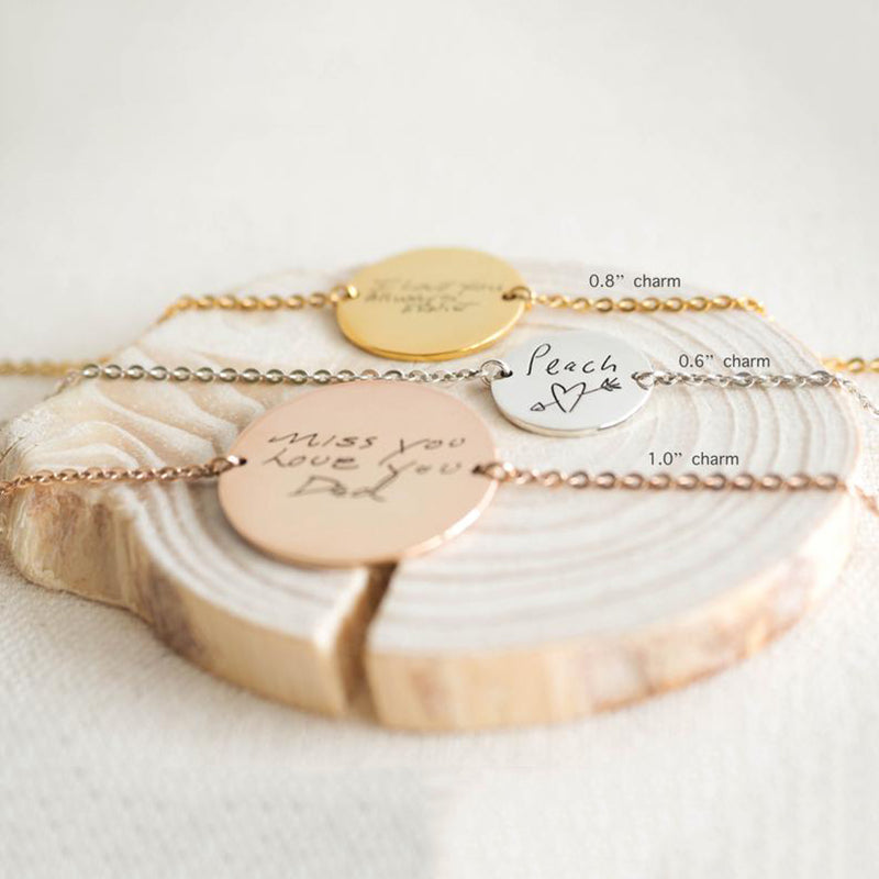 Bridesmaid Gifts Handwriting Disc Bracelet Custom Handwriting Engraved Disc Personalized Bracelets - urweddinggifts