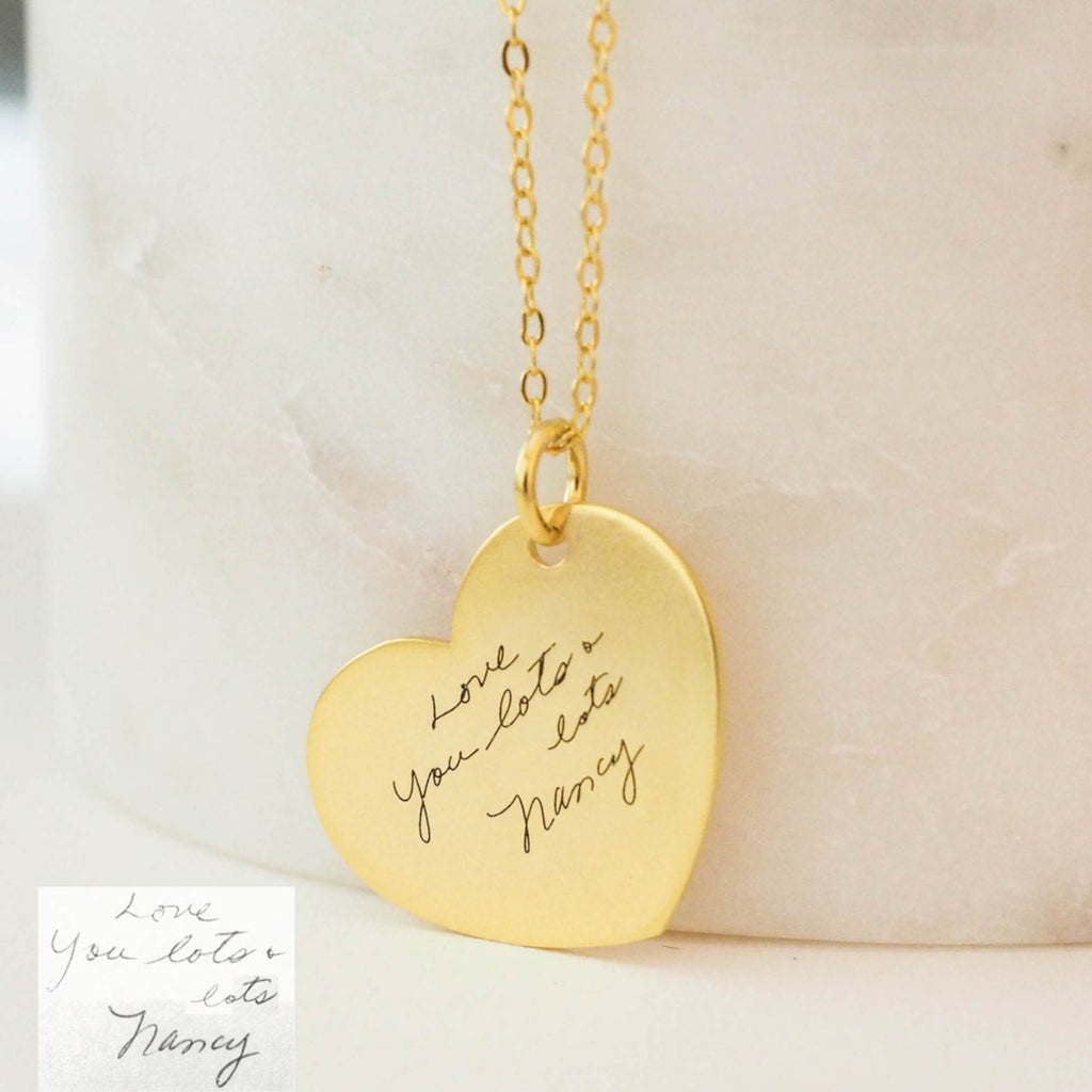 Bridesmaid Gifts Handwriting Necklace Personalized Handwriting Heart Necklace Custom Signature Necklace - urweddinggifts