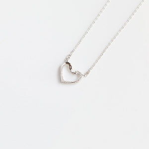 Bridesmaid Gifts Heart Necklace Sterling Silver Heart Pendant Diamond Look Zirconia Heart Necklace - urweddinggifts