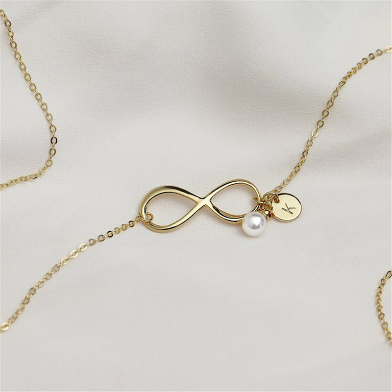 Bridesmaid Gifts Infinity Necklace Personalized Initial Necklace Pearl Necklace - urweddinggifts